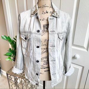 AE studded distressed grey denim jacket